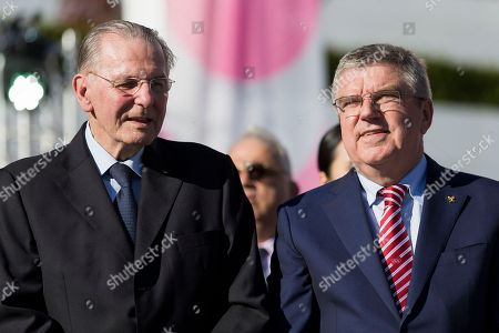Former International Olympic Committee president Belgium Jacques Rogge (L), and International Olympic Committee (IOC) president German Thomas Bach during the celebration of the Olympic Day at the Olympic Museum, on Friday, June 22, 2018, in Lausanne, Switzerland.