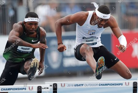 Stock Picture of Khallifah Rosser, Bershawn Jackson. Khallifah Rosser, right, clears a hurdle ahead of Bershawn Jackson during a heat in the men's 400 meters at the U.S. Championships athletics meet, in Des Moines, Iowa