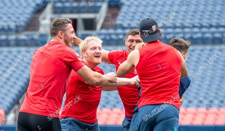 James Graham celebrates with Gareth Widdiop, Ryan Hall and Sam Burgess after training games.