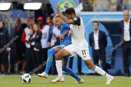 Neymar of Brazil, Johan Venegas of Costa Rica