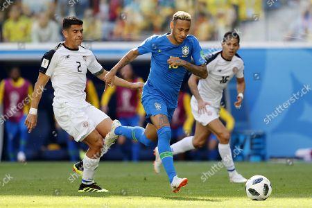 Johnny Acosta of Costa Rica, Neymar of Brazil, Cristian Gamboa of Costa Rica