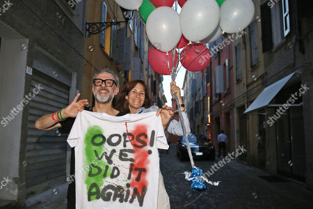 Chef Massimo Bottura with wife Lara Gilmore coming back from Bilbao where at the World's 50 Best Restaurants 2018 the restaurant Osteria Francescana was elected for the second time Best restaurant in the world, celebrated the victory
