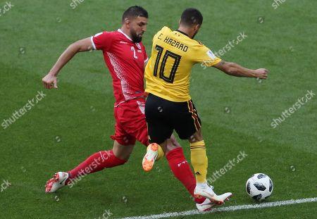 Syam Ben Youssef of Tunisia and Eden Hazard of Belgium