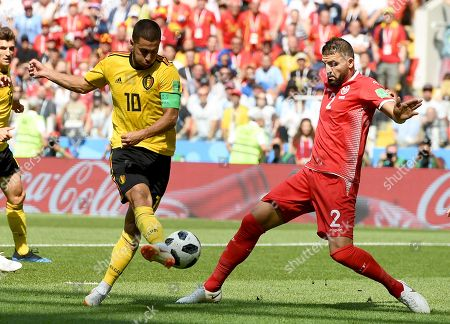Eden Hazard of Belgium and Syam Ben Youssef of Tunisia