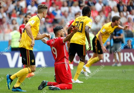 Anice Badri of Tunisia reacts during the FIFA World Cup 2018 group G preliminary round soccer match between Belgium and Tunisia in Moscow, Russia, 23 June 2018. (RESTRICTIONS APPLY: Editorial Use Only, not used in association with any commercial entity - Images must not be used in any form of alert service or push service of any kind including via mobile alert services, downloads to mobile devices or MMS messaging - Images must appear as still images and must not emulate match action video footage - No alteration is made to, and no text or image is superimposed over, any published image which: (a) intentionally obscures or removes a sponsor identification image; or (b) adds or overlays the commercial identification of any third party which is not officially associated with the FIFA World Cup)