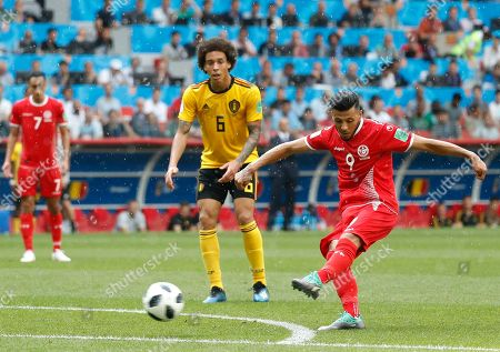 Anice Badri of Tunisia takes a shot during the FIFA World Cup 2018 group G preliminary round soccer match between Belgium and Tunisia in Moscow, Russia, 23 June 2018. (RESTRICTIONS APPLY: Editorial Use Only, not used in association with any commercial entity - Images must not be used in any form of alert service or push service of any kind including via mobile alert services, downloads to mobile devices or MMS messaging - Images must appear as still images and must not emulate match action video footage - No alteration is made to, and no text or image is superimposed over, any published image which: (a) intentionally obscures or removes a sponsor identification image; or (b) adds or overlays the commercial identification of any third party which is not officially associated with the FIFA World Cup)