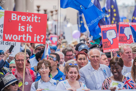 The march is led by Tony Robinson, Gina Miller, Vince Cable (pictured)and Anna Soubry amongst others - People's March for a People's Vote on the final Brexit deal. Timed to coincide with the second anniversary of the 2016 referendum it is organised by anti Brexit, pro EU campaigners.