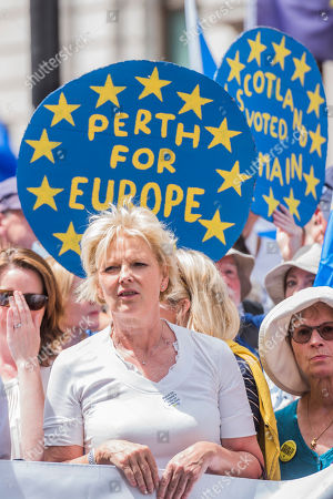 The march is led by Tony Robinson, Gina Miller, Vince Cable and Anna Soubry (pictured)amongst others - People's March for a People's Vote on the final Brexit deal. Timed to coincide with the second anniversary of the 2016 referendum it is organised by anti Brexit, pro EU campaigners.