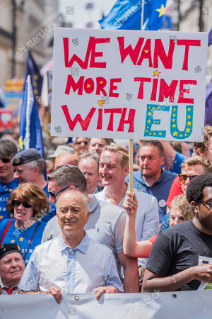 The march is led by Tony Robinson (pictured), Gina Miller, Vince Cable and Anna Soubry amongst others - People's March for a People's Vote on the final Brexit deal. Timed to coincide with the second anniversary of the 2016 referendum it is organised by anti Brexit, pro EU campaigners.
