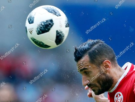 Tunisia's Ali Maaloul heads the ball during the group G match between Belgium and Tunisia at the 2018 soccer World Cup in the Spartak Stadium in Moscow, Russia