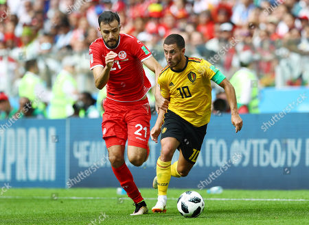 Eden Hazard of Belgium and Hamdi Nagguez of Tunisia