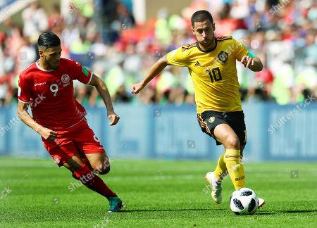 Eden Hazard of Belgium and Anice Badri of Tunisia