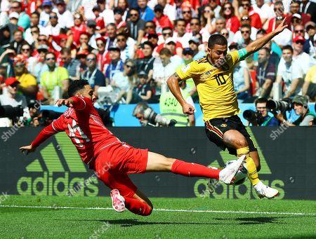 Eden Hazard of Belgium and Dylan Bronn of Tunisia