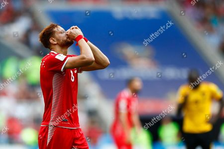 Tunisia's Fakhreddine Ben Youssef reacts during the group G match between Belgium and Tunisia at the 2018 soccer World Cup in the Spartak Stadium in Moscow, Russia