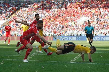 Belgium's Eden Hazard, right, is fouled by Tunisia's Syam Ben Youssef during the group G match between Belgium and Tunisia at the 2018 soccer World Cup in the Spartak Stadium in Moscow, Russia