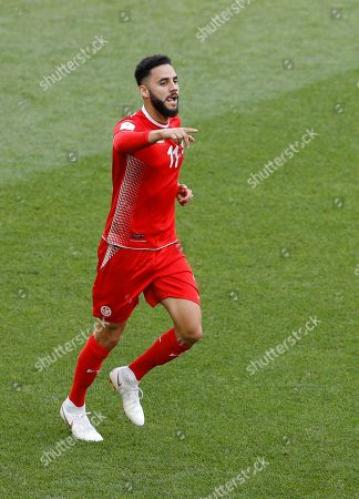 Tunisia's Syam Ben Youssef scores his side's opening goal against Belgium during the group G match between Belgium and Tunisia at the 2018 soccer World Cup in the Spartak Stadium in Moscow, Russia