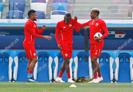 Panama's Michael Murillo, right, touches Panama's Abdiel Arroyo during a training session of Panama at the 2018 soccer World Cup in Nizhny Novgorod, Russia