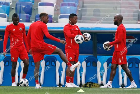 Panama's Felipe Baloy, riught, hods a ball during a training session of Panama at the 2018 soccer World Cup in Nizhny Novgorod, Russia