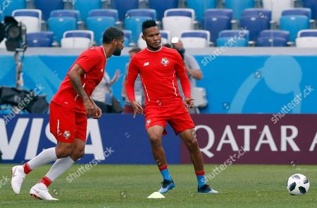 Panama's Gabriel Gomez, left and Panama's Eric Davis attenda a training session of Panama at the 2018 soccer World Cup in Nizhny Novgorod, Russia