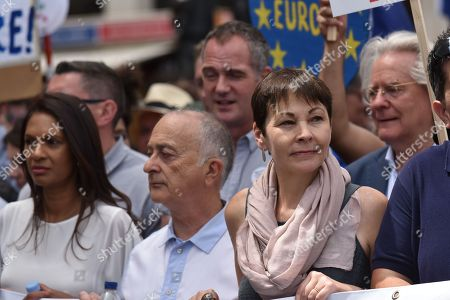 Stock Picture of Gina Miller, Tony Robinson, Caroline Lucas. Thousands attend the March for a People's Vote on the Brexit deal.