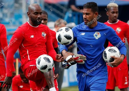 Panama's defender Felipe Baloy (L) and goalkeeper Jose Calderon attend a training session in Nizhny Novgorod, Russia, 23 June 2018. Panama will face England in their FIFA World Cup 2018 Group G preliminary round soccer match on 24 June 2018.