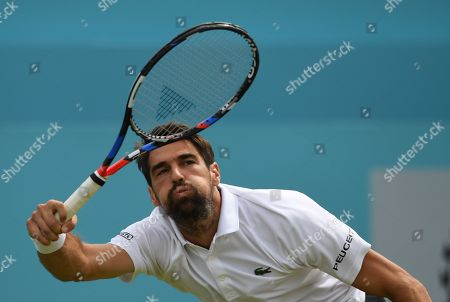 Stock Image of Jeremy Hardy of France in action against Novak Djokovic of Serbia during their semi final match at the Fever Tree Championship at Queen's Club in London, Britain, 23 June 2018.