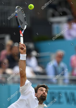 Jeremy Hardy of France in action against Novak Djokovic of Serbia during their semi final match at the Fever Tree Championship at Queen's Club in London, Britain, 23 June 2018.