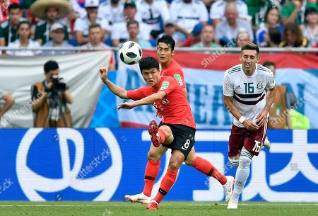 South Korea's Ju Se-jong, center, kicks the ball during the group F match between Mexico and South Korea at the 2018 soccer World Cup in the Rostov Arena in Rostov-on-Don, Russia