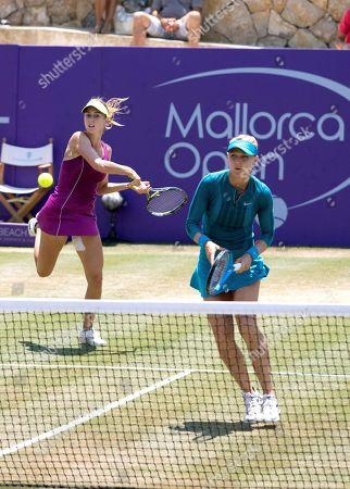 Czech tennis players Lucie Safarova (R) and Barbora Stefkova (L) in action against Lidziya Marozava and Dutch Lesley Kerkhove (unseen)  of Belarus during their semifinal match of the Mallorca Open WTA tennis tournament at Santa Ponsa Tennis club in Santa Ponsa, Balearic Islands, Spain, 23 June 2018.