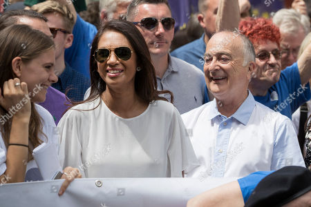 Activists Gina Miller and Tony Robinson join the People's Vote march for a second EU referendum in central London.