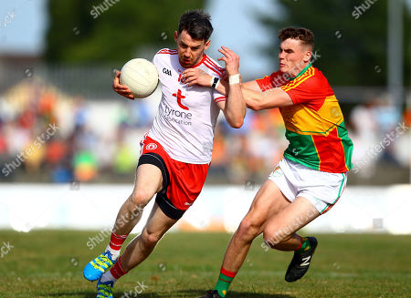 Carlow vs Tyrone. Tyrone's Matthew Donnelly in action against Carlow's Jordan Morrissey