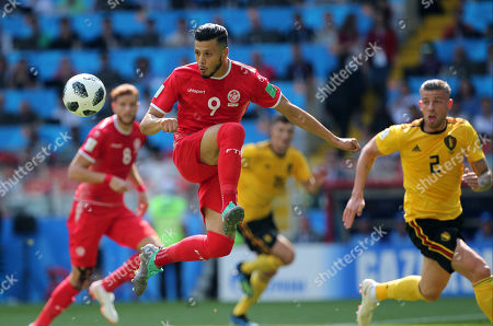 Anice Badri in action during the Fifa World Cup Russia 2018, Group C, football match between Belgium V Tunisia in Spartak Stadium in Moscow Stadium