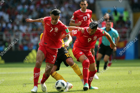 Saif-Eddine Khaoui, Anice Badri in action during the Fifa World Cup Russia 2018, Group C, football match between Belgium V Tunisia in Spartak Stadium in Moscow Stadium
