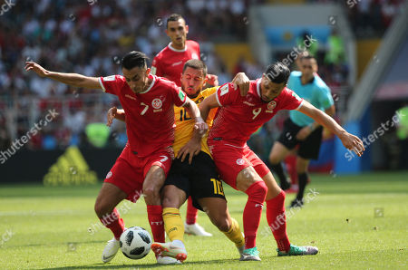 Stock Image of Saif-Eddine Khaoui, Eden Hazard in action during the Fifa World Cup Russia 2018, Group C, football match between Belgium V Tunisia in Spartak Stadium in Moscow Stadium