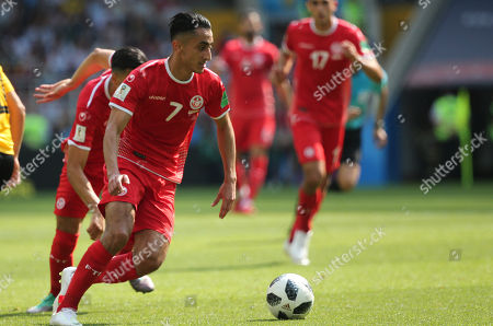 Saif-Eddine Khaoui in action during the Fifa World Cup Russia 2018, Group C, football match between Belgium V Tunisia in Spartak Stadium in Moscow Stadium