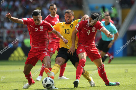 Saif-Eddine Khaoui, Eden Hazard in action during the Fifa World Cup Russia 2018, Group C, football match between Belgium V Tunisia in Spartak Stadium in Moscow Stadium