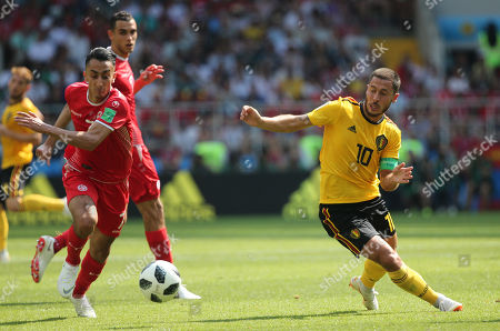 Stock Picture of Saif-Eddine Khaoui, Eden Hazard in action during the Fifa World Cup Russia 2018, Group C, football match between Belgium V Tunisia in Spartak Stadium in Moscow Stadium