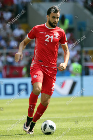 Hamdi Nagguez in action during the Fifa World Cup Russia 2018, Group C, football match between Belgium V Tunisia in Spartak Stadium in Moscow Stadium