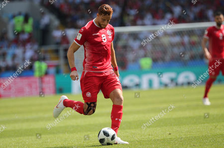 Fakhreddine Ben Youssef in action during the Fifa World Cup Russia 2018, Group C, football match between Belgium V Tunisia in Spartak Stadium in Moscow Stadium