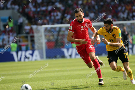 Hamdi Nagguez, Yannick Carrasco in action during the Fifa World Cup Russia 2018, Group C, football match between Belgium V Tunisia in Spartak Stadium in Moscow Stadium