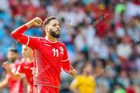 Dylan Bronn of Tunisia celebrates goal during match against Belgium game valid for the second round of Group G of the World Cup in Russia 2018 at Spartak Stadium