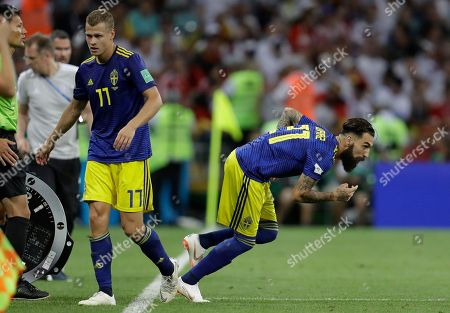Sweden's John Guidetti is substituted by Jimmy Durmaz during the group F match between Germany and Sweden at the 2018 soccer World Cup in the Fisht Stadium in Sochi, Russia
