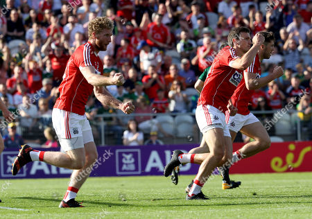 Cork vs Kerry. Cork's Mark Collins celebrates scoring a goal with Ruairi Deane and Tomás Clancy