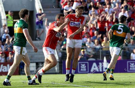 Cork vs Kerry. Cork's Mark Collins celebrates scoring a goal with Tomás Clancy