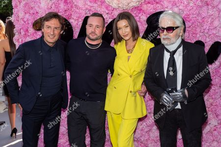 (L-R) Pietro Beccari, Kim Jones, Bella Hadid and Karl Lagerfeld