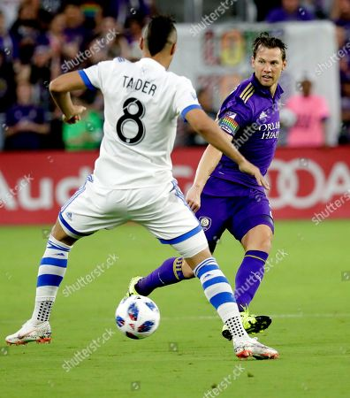 Orlando City's Jonathan Spector, right, moves the ball against Montreal Impact's Saphir Taider (8) during the first half of an MLS soccer match, in Orlando, Fla