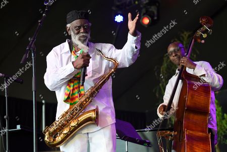 Saxophonist Pharoah Sanders performs on day 1 of the Arroyo Seco Music Festival, in Pasadena, Calif