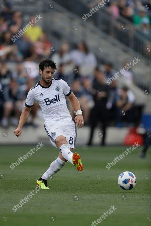 Vancouver Whitecaps' Felipe Martins in action during an MLS soccer match against the Philadelphia Union, in Chester, Pa