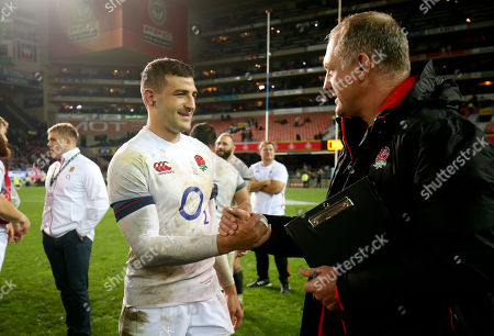 Jonny May of England is congratulated by Richard Hill