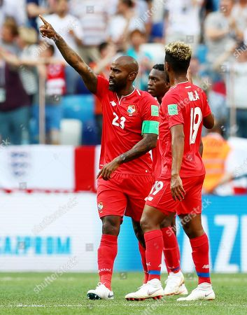 Stock Picture of Felipe Baloy of Panama celebrates scoring his sides first goal.